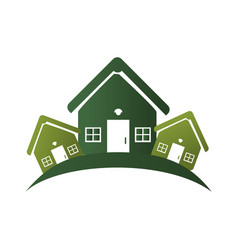 green silhouette with group of houses vector image