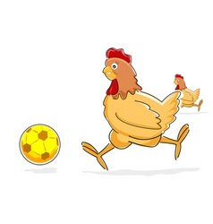 hen playing with soccer ball vector image