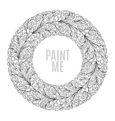 Round floral frame in Vintage style Doodle vector image vector image