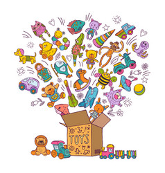 childrens box for toys doodle pictures vector image vector image
