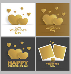 golden greeting card happy valentines day set vector image vector image