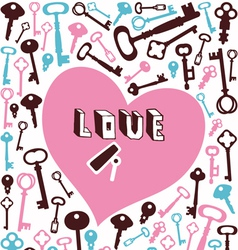 key lock heart background vector image vector image