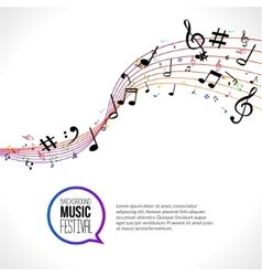 abstract Music notes on colorful lines On vector image