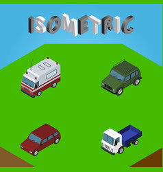 Isometric automobile set of first-aid car lorry vector