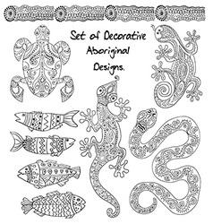 Set of aboriginal animals vector