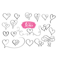 set of hand drawn sketchy calligraphy hearts vector image