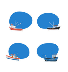 vintage fishing boats isolated icons set vector image