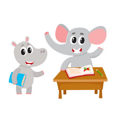 cute animal student characters elepant at desk vector image