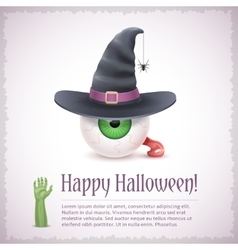 Happy Halloween card with a witch eye in hat vector image