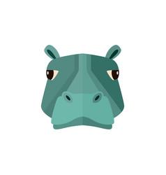 hippo head icon in flat design vector image