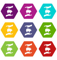 piggy bank and hands icon set color hexahedron vector image