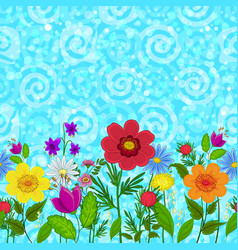 seamless flowers and sky vector image vector image