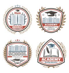 vintage colored education emblems set vector image