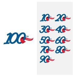 100 th anniversary set template design vector