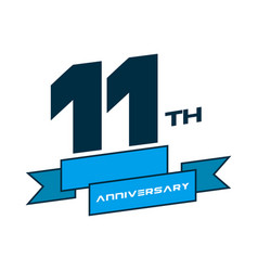 11 years anniversary logo template with a shadow vector