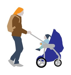 A father with a backpack carries a child in a vector