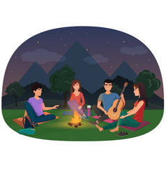 a group of friends sitting at the campfire in the vector image