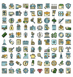 Accountant icons flat vector