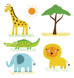 african animals cartoon set vector image