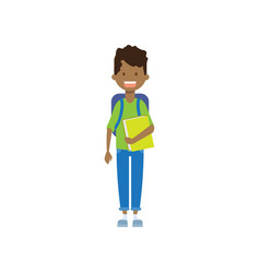 african school boy with book full length avatar vector image
