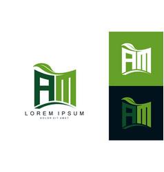 Am monogram leaf logo natural organic premium vector