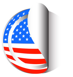 America flag on round sticker vector