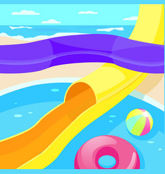 aquapark descent from a steep hill vector image