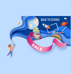 back to school sale background paper cut vector image