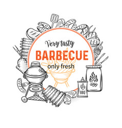 Barbecue round banners vector