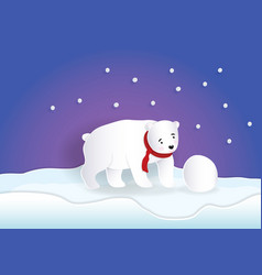 Bear wearing red scarf playing snowball with blue vector