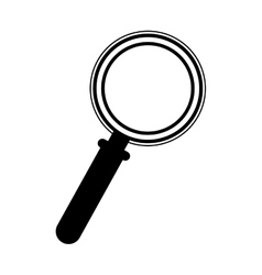 Black silhouette magnifying glass with base vector