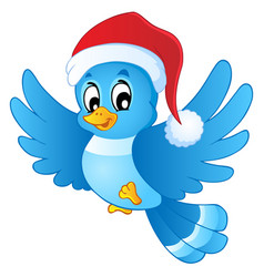 Blue bird in christmas hat vector