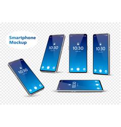 Blue frameless smartphone mockup set 3d vector