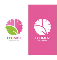 brain and leaf logo combination education vector image