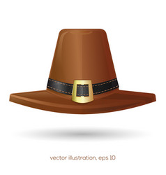 brown pilgrims hat with a buckle vector image