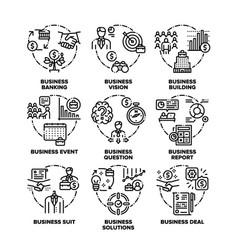 Business goal set icons black vector