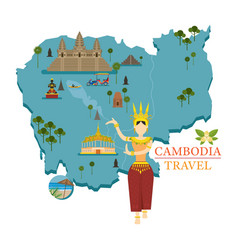 Cambodia map and landmarks with apsara dancer vector
