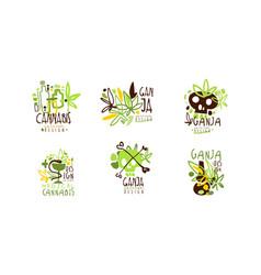 cannabis logo original design templates set vector image