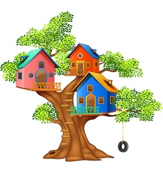 Cartoon of a colorful tree house vector