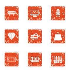 Casino document icons set grunge style vector