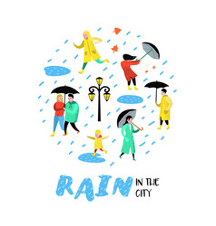 characters people walking in rain cartoons vector image