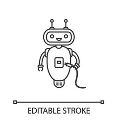 Chatbot with usb cable linear icon vector