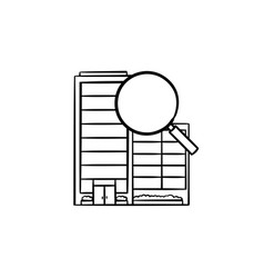 City buildings with magnifying glass hand drawn vector