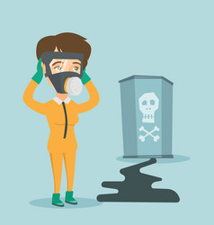 Concerned woman in respirator and protective suit vector