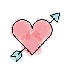 Cute heart love with arrow vector