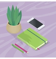 Desk with Mobile Phone Pencils Plant Note Book vector image