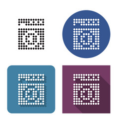 Dotted icon clothes washer in four variants vector