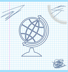 earth globe line sketch icon isolated on white vector image