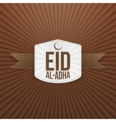 Eid al-Adha greeting white Badge vector