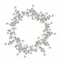 elegant and cute wreath with silver eucalyptus vector image
